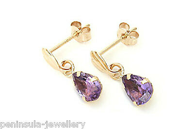 9ct Gold Amethyst Long Drop Square Earrings Made in UK Gift Boxed Birthday Gift