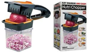 NutriChopper - Food Chopper & Dicer w/ 3 Stainless Steel Blades & Container, New