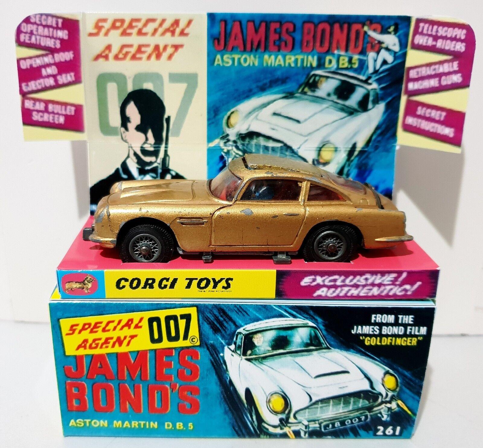 CORGI 261 Bond 007 goldfinger ASTON MARTIN DB5 Diecast Model Car In Repro Box [b