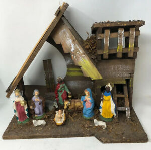 Fontanini Roman Nativity Manger Stall Creche Christmas Italy VTG MCM Figures