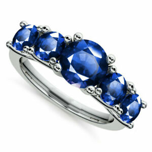 2.00 Ct Natural Blue Sapphire Gemstone Rings 14K Solid White Gold Size M N J I O
