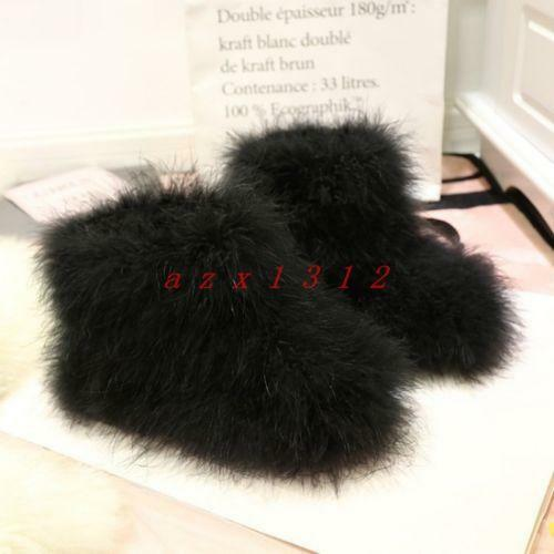 Womens Round Toe Furry Warm Winter Snow Ankle Boot Shoe Stylish Candy Color