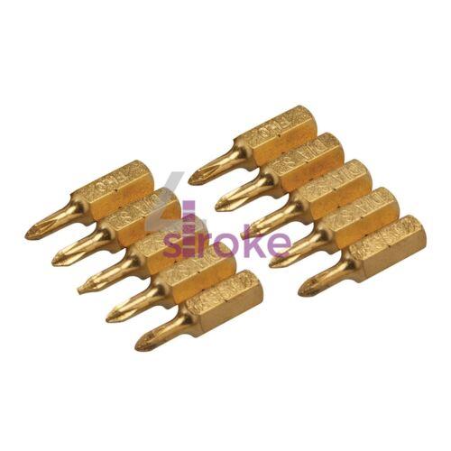 "Phillips titanium et diamond coated screwdriver bits PH0 1//4/"" hex drive 10pk"