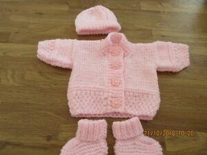 Belle Hand Knit Prem Rose Bébé Cardigan Chapeau Et Bootees. Set-afficher Le Titre D'origine En Quantité LimitéE