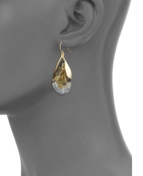 Alexis Bittar 10K gold Plated Brass Lucite Teardrop Earrings  245