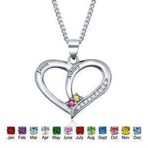 Personalized birthstone necklaces pendants couple heart lover image is loading personalized birthstone necklaces amp pendants couple heart lover aloadofball Images