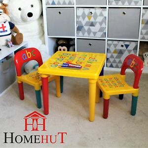 Table-and-Chair-Set-ABC-Alphabet-Childrens-Plastic-Kids-Toddlers-Childs-School