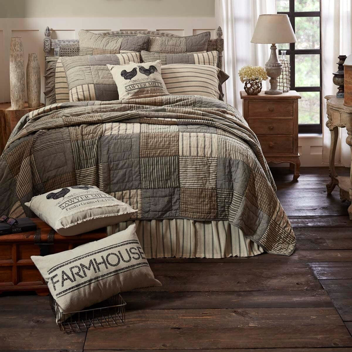 QUEEN Größe Patchwork Rustic Country 100% Cotton Hand Quilted Farmhouse Quilt