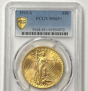 1915-S $20 Saint Gaudens Pre-33 Gold Double Eagle PCGS MS65+ Blazing Orange GEM!