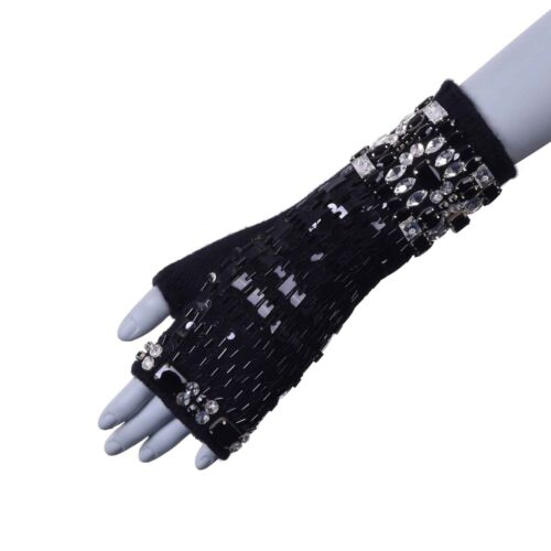 DOLCE & GABBANA Cashmere Gloves with Crystals Embroidery for Dress Black 05970