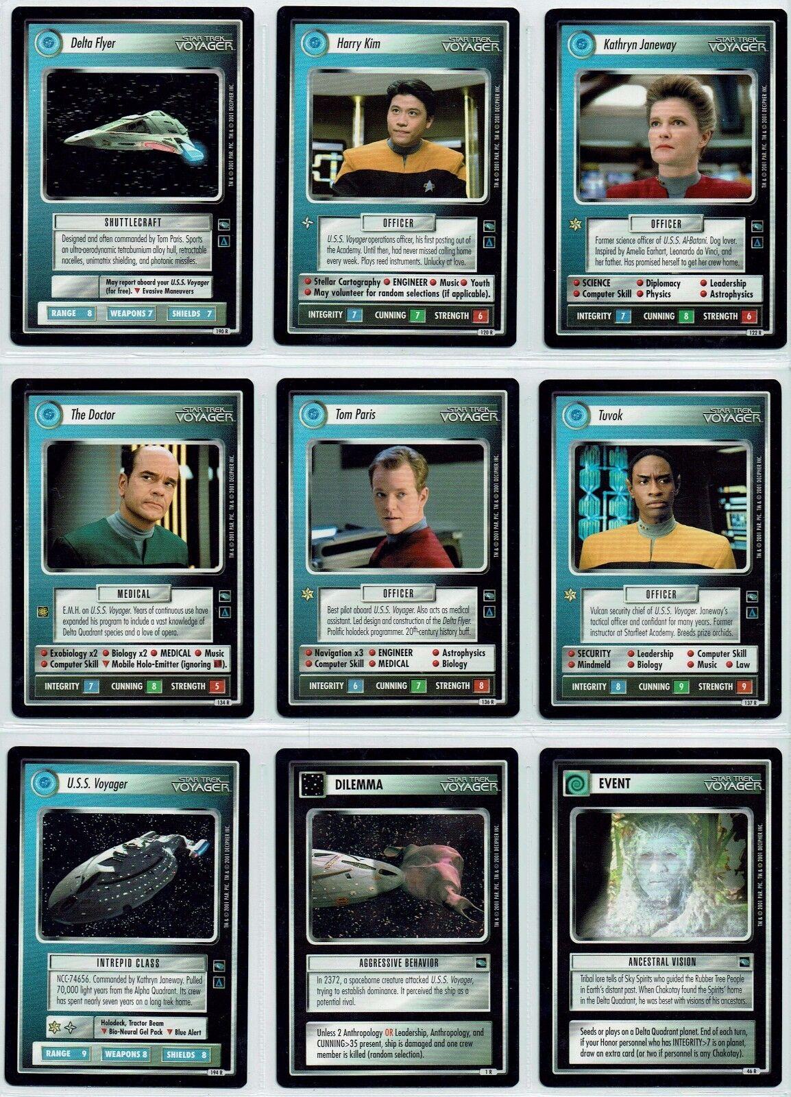 Star Trek CCG VOYAGER Conjunto Completo de 49 Raro Tarjetas, no AI VARIANTES