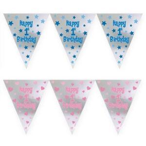 12ft-largo-1-Primer-Cumpleanos-Nino-Nina-Rosa-Azul-Papel-de-aluminio-banderin