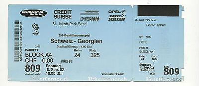 Intellektuell Orig.ticket Em Qualifikation 08.09.2002 Schweiz - Georgien !! Selten Phantasie Farben