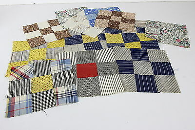 """9-Patch Hand Sewn Quilt Blocks Vtg 6- 7"""" x 7"""" &  8- 8"""" x 8"""" Quilting Squares"""