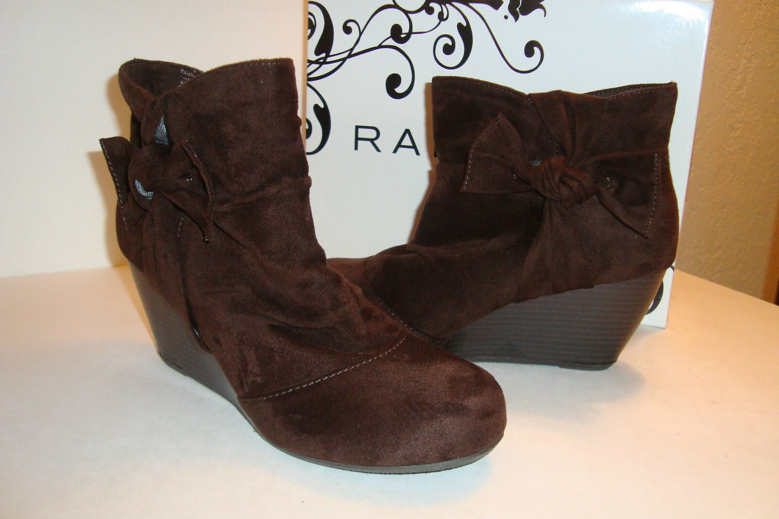Rampage Damenschuhe NWB Kahlan Braun Faux Suede Ankle Stiefel Schuhes 8.5 MED NEU