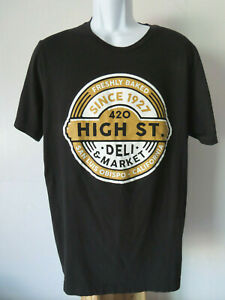 BLACK-HIGH-STREET-CAFE-TEE-SHIRT-SAN-LUIS-OBISPO-slo-men-039-s-t-deli-xl-stoner