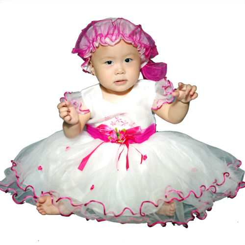 Neu Baby Taufe Party mit Bonnet 0-3 3-6 6-9 9-12 Monate in 6 Farbe