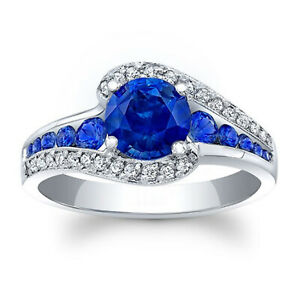 1.57 Ct Blue Sapphire Round Diamond Engagement Ring 925 Sterling Silver Size 7