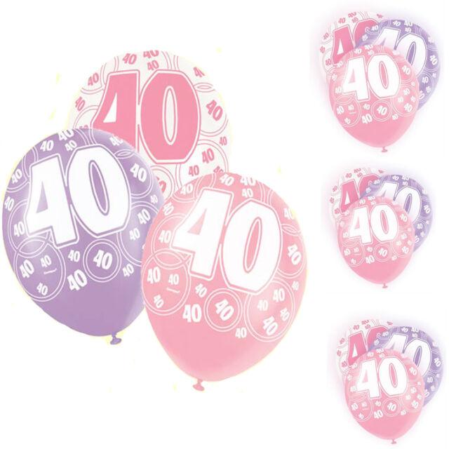 "Pack of 6 Unique 12"" Latex Glitz Pink 40th Birthday Balloons Birthday Decoration"