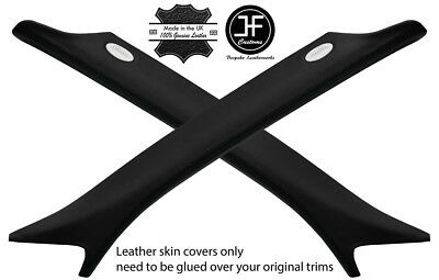 BLACK STITCH 2X A PILLAR REAL LEATHER COVERS FOR RANGE ROVER SPORT 2005-2013