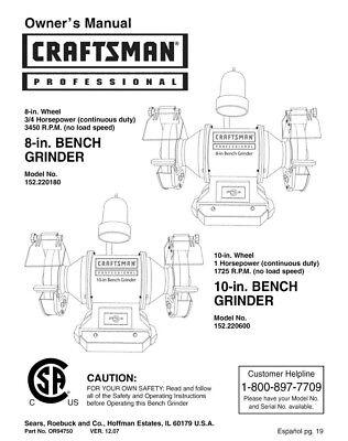 Superb Craftsman 152 220180 152 220600 Bench Grinder Instruction Manual Ebay Alphanode Cool Chair Designs And Ideas Alphanodeonline