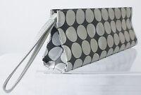Long Px Prescriptives Silver Polka Dot Makeup Cosmetic Bag / Purse Wristlet