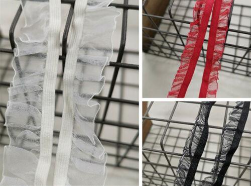 """5yds volants élastique dentelle stretch Ribbon Edge bricolage robe coiffure 0.59/"""" Largeur"""