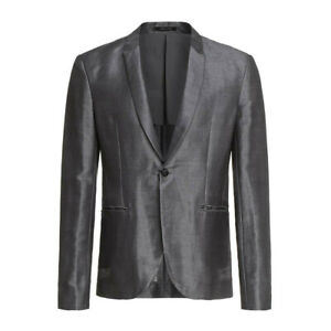 EMPORIO-ARMANI-GREY-WOOL-BLEND-BLAZER-JACKET-COAT-Size-38-IT-48