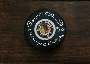 Bobby Hull Chicago Blackhawks Signed Autographed Hockey Puck 61 Cup Champs JSA