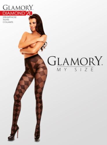 3XL 50530 Glamory Diamond 20 gemusterte Karos Feintrumpfhose bis Plus Größe 58
