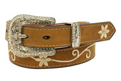 Nocona Girls Brown Leather Floral Embroidred Western Belt N4438644