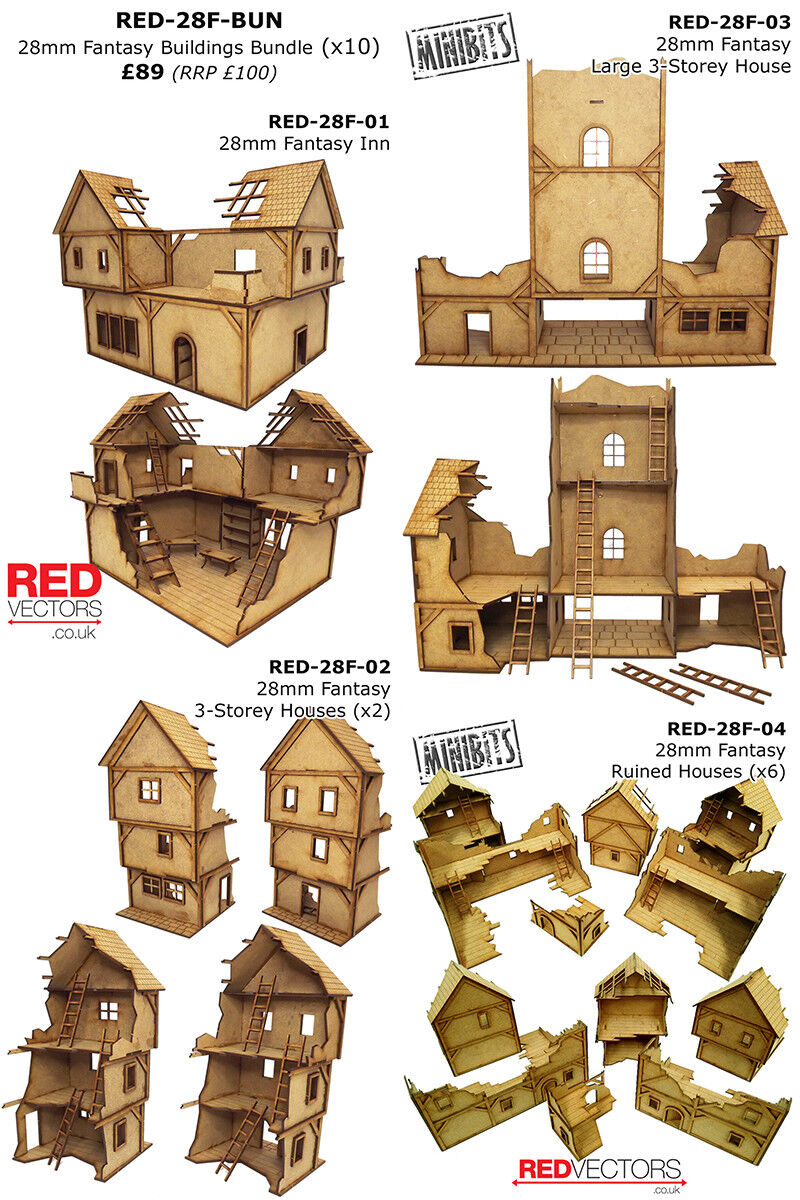 RED-28F-BUN - 28mm Wargames - Fantasy Buildings Buildings Buildings x 10 (for Mordheim   Frostgrave) 4b8