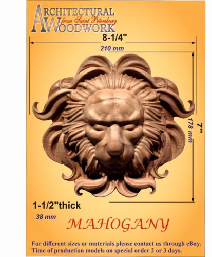 "Hand carved Mahogany Lion Head Applique Rosette 8-1//4/"" x 7/"" x 1-1//2/"""