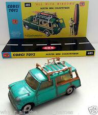 1960's CORGI TOYS 485 AUSTIN MINI COUNTRYMAN Diecast Model & Custom Display Base