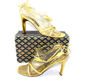 Patrick-Cox-Italy-Gold-Leather-Grecian-Leaves-Strappy-Sandals-Heels-41-10-5