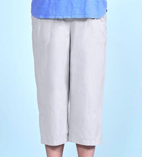 FRESH PRODUCE 3X Vapor GRAY $69 Beachcomber Cotton Elastic Waist Capris NWT New