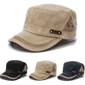 Fashion-Men-Women-Adjustable-Classic-Army-Plain-Hat-Cadet-Military-Baseball-Cap