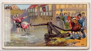 English-Dunking-Stool-Punishment-Middle-Ages-Custom-1920s-Trade-Ad-Card