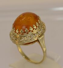 Antik Damen-Ring mit Bernstein / 333er 8 Karat Gelbgold