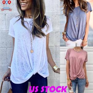 4a702abba0c8 Womens Summer Short Sleeve T-shirt Twist Front Tunic Tops Irregular ...