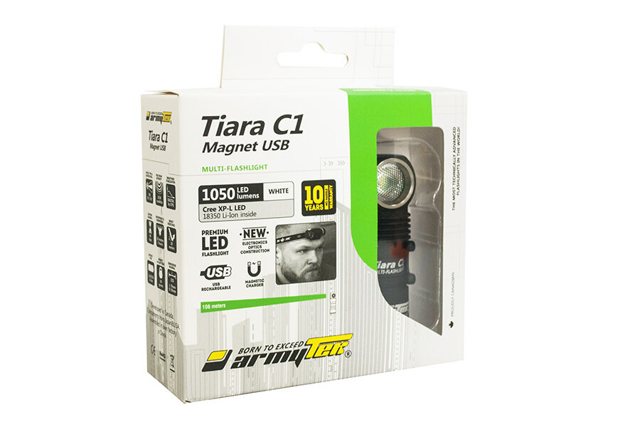 Armytek Tiara C1 Pro v3 XP-L USB Rechargeable Headlamp -1050Lm -Battery Included