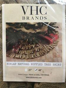 "Burlap Natural 48/"" Christmas Tree Skirt VHC Brands NEW"