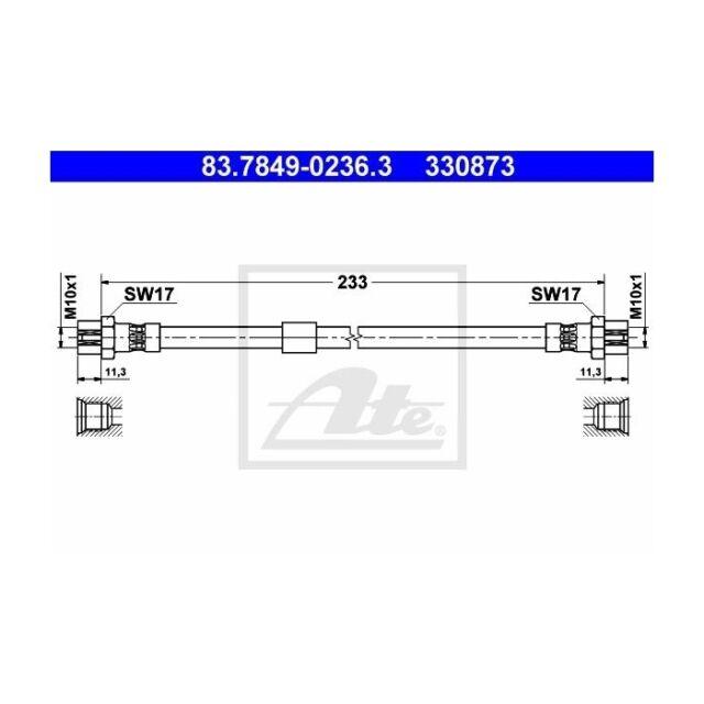 ATE 83.7849-0236.3 Bremsschlauch   für VW Touran