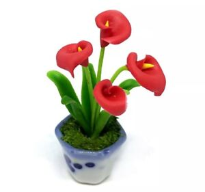 Red Calla Arum Lily Plant in Pot Dollhouse Miniatures Deco Garden