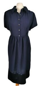 Vera-Wang-Size-14-Navy-Blue-Short-Sleeve-Fit-Flare-Dress-Silky-Trim-Casual-Smart