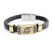 Hot Anime Naruto Bracelet Leaf Mark Brown Wristband Cosplay Bangle For Anime Fan