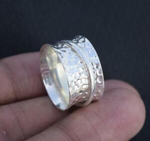 Solid-925-Sterling-Silver-Spinner-Ring-Meditation-Statement-Ring-Size-M459