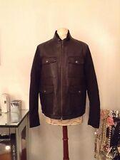 New Banana Republic Men Black Genuine Leather Jacket Coat SZ Med