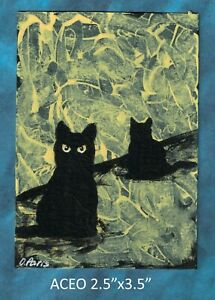 Original-ACEO-Cat-miniature-acrylic-painting-not-framed