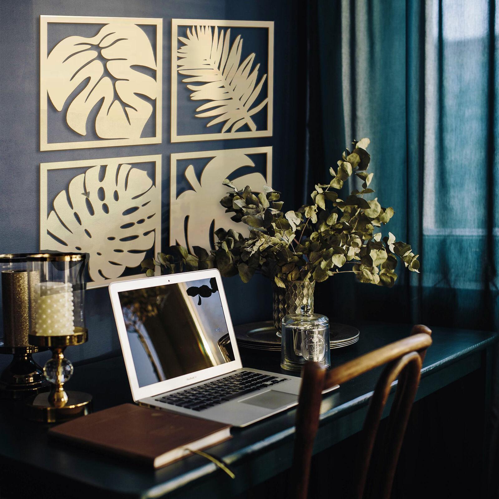 Holzkunst  Pappel - Blätter Tropical Set HOLZDEKO natur stabil und leicht